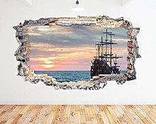 Adesivo murale Old Ship Sailing Ocean Sunset Smash