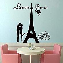 Adesivo Murale Parigi Coppia Che Si Bacia E