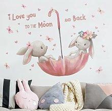 Adesivo murale - Per La Rabbit Moon In Umbrella