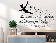 Adesivo murale Peter Pan Non smettere mai di