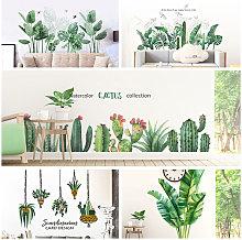 Adesivo murale pianta verde fai da te peonia rosa