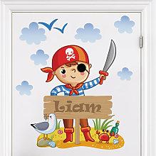 Adesivo murale pirata per bambini - Con testo