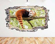 Adesivo murale Red Panda Tree Cute Animal Smash