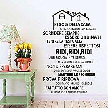 Adesivo murale Regola della casa italiana Vinile