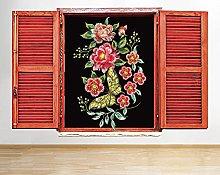 Adesivo murale Ricamo floreale Sala naturale