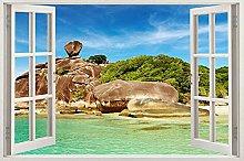 Adesivo murale rimovibile spiaggia albero gigante