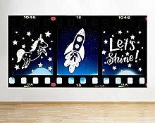 Adesivo murale Rocket Star Girl Child Window Decal