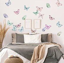 Adesivo murale - Set di farfalle pastello in