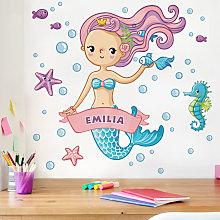 Adesivo murale sirena per bambini - Con testo
