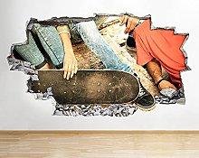 Adesivo murale skateboard C654