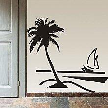 Adesivo Murale Spiaggia Palma Da Cocco Barca A