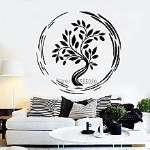 Adesivo murale stile yoga albero fiore asiatico