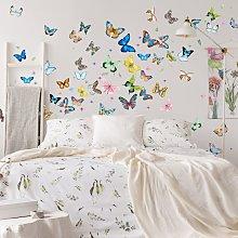 Adesivo murale - XXL set di farfalle in acquerello