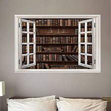 Adesivo Parete Finestra Grande 3D Biblioteca Arte