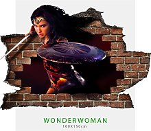 Adesivo parete murale effetto 3D Wonder Woman wall