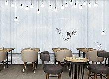 Adesivo parete Tavola di legno lampadina bar
