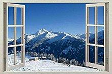 Adesivo per finestra da parete con neve Negozio