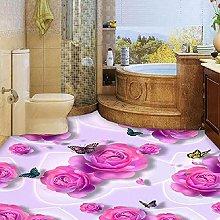 Adesivo per pavimento 3d rosa rosa farfalla
