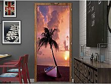 Adesivo Per Porta MuraleSeaside Coconut Tree