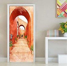 Adesivo Per Porte Scala In Pietra Ad Arco 3D