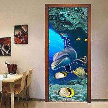 Adesivo Porta Delfino Mondo Subacqueo Autoadesivo