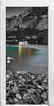 Adesivo Porta Montagna Barca Lago Autoadesiva