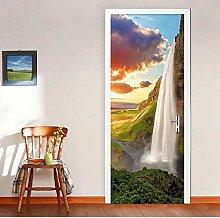 Adesivo Porta Paesaggio Cascata Autoadesivo 3D