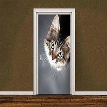 Adesivo Porta Simpatico Gatto Autoadesivo