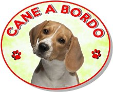 Adesivo vetrofania cane a bordo beagle