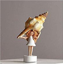 AERVEAL Scultura da Tavolo Conch Girl Figurina