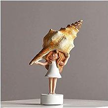 AERVEAL Scultura da Tavolo Conch Girl Statuetta