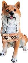 Akita Dog Seduto Statua con Segno di benvenuto