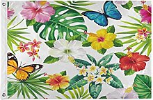 Alarge - Bandiera da giardino con fiori tropicali