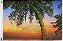 Alarge - Bandiera da giardino tropicale con palme,