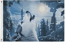 Alarge - Bandiere da giardino con animali, lupo,