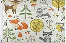 Alarge - Bandiere da giardino, motivo: volpe,