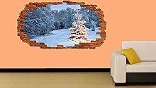 Albero di Natale nella neve Adesivo murale