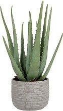 Aloe vera artificiale con vaso in cemento grigio
