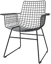 Altorf sedia in filo nero con braccioli