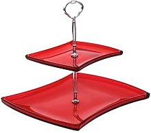 Alzata per dolci 2 livelli colore rosso