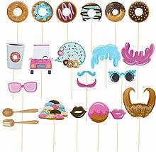 Amosfun 22Pcs Donuts Party Photo Booth Puntelli