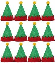 Amosfun - 24 mini cappello di Natale verde,