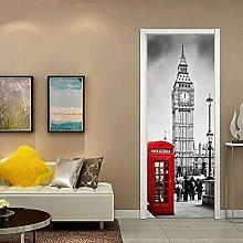 ANHHWW Adesivo Per Porte 3D Londra Big Ben Street