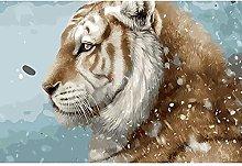 Animale Tigre Nella Neve Puzzle In Legno 98 Pezzi