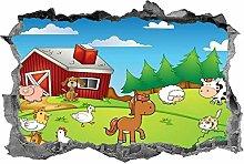 Animali della fattoria, adesivo, bambini,