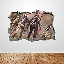 Anime Wall Stickers Smashed 3D Graphics Anime Girl