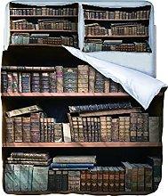 AOUAURO Set Copripiumino Singolo Libri Stampa