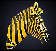 Appeso a Parete con Testa di Zebra, Statua 3d di
