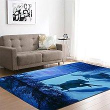 appeto Lupo Blu tappeto salotto moderno faux