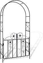 Arco con porta da giardino per piante rampicanti -